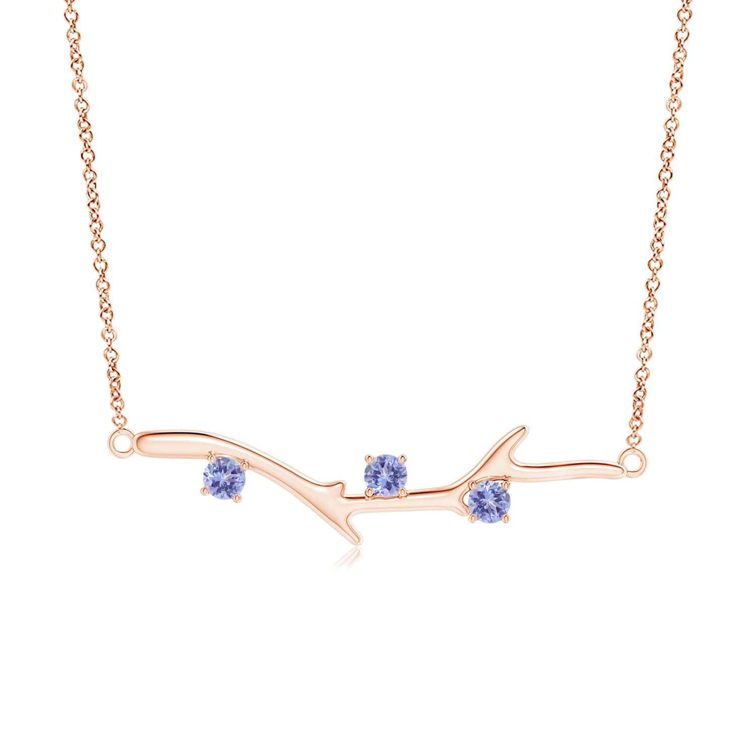 """0.3 carat Round Brilliant Prongs Set Tanzanite Pendant Necklace in 14K Rose Gold, 18"""" Inches, December Birthstone... by Angara.com"""