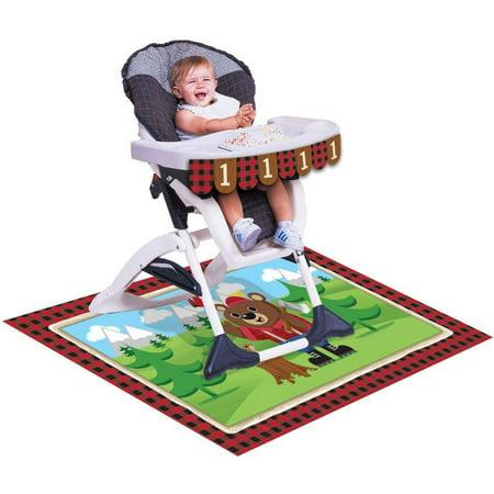 Creative Halloween Birthday Invites (322314, 1St Birthday High Chair kit, Lum-Bear-Jack, High chair kit for baby's 1st birthday is a decorative banner and plastic floor Mat By Creative)