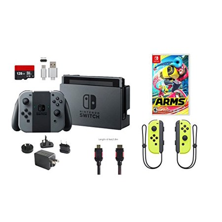 Nintendo Switch Bundle  7 Items   32Gb Console Gray Joy Con  128Gb Micro Sd Card  Nintendo Joy Con  L R  Wireless Controllers Yellow  Game Disc Arms  Type C Cable  Hdmi Cable Wall Charger