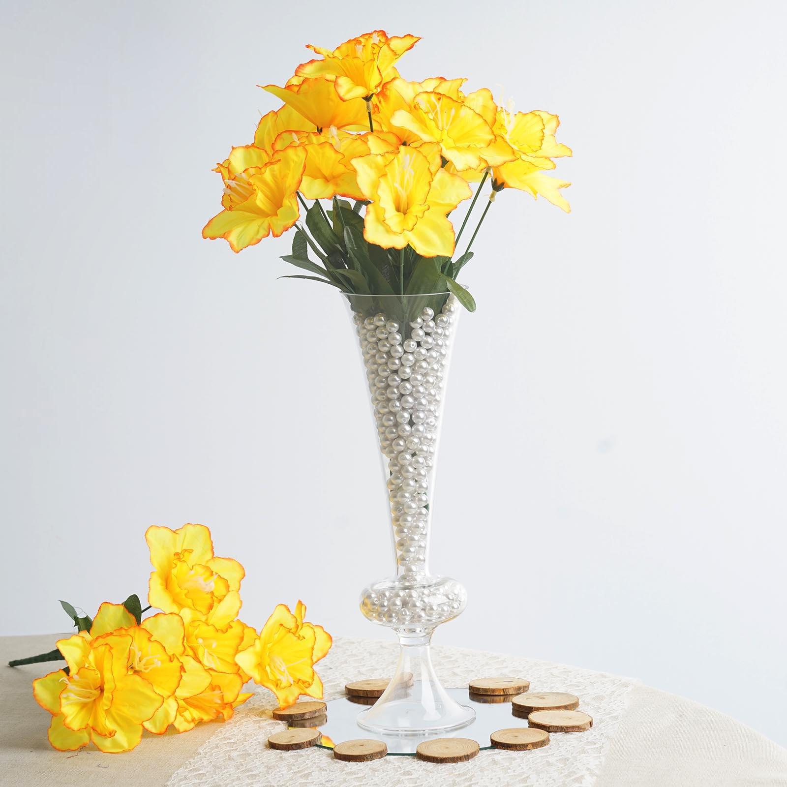 BalsaCircle 72 Silk Daffodil Flowers - 12 bushes - DIY Home Wedding Party Artificial Bouquets Arrangements Centerpieces