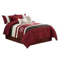 7-Pc Winter Wonderland Snowflake Embroidery Pleated Comforter Set Burgundy Red Beige Brown Queen