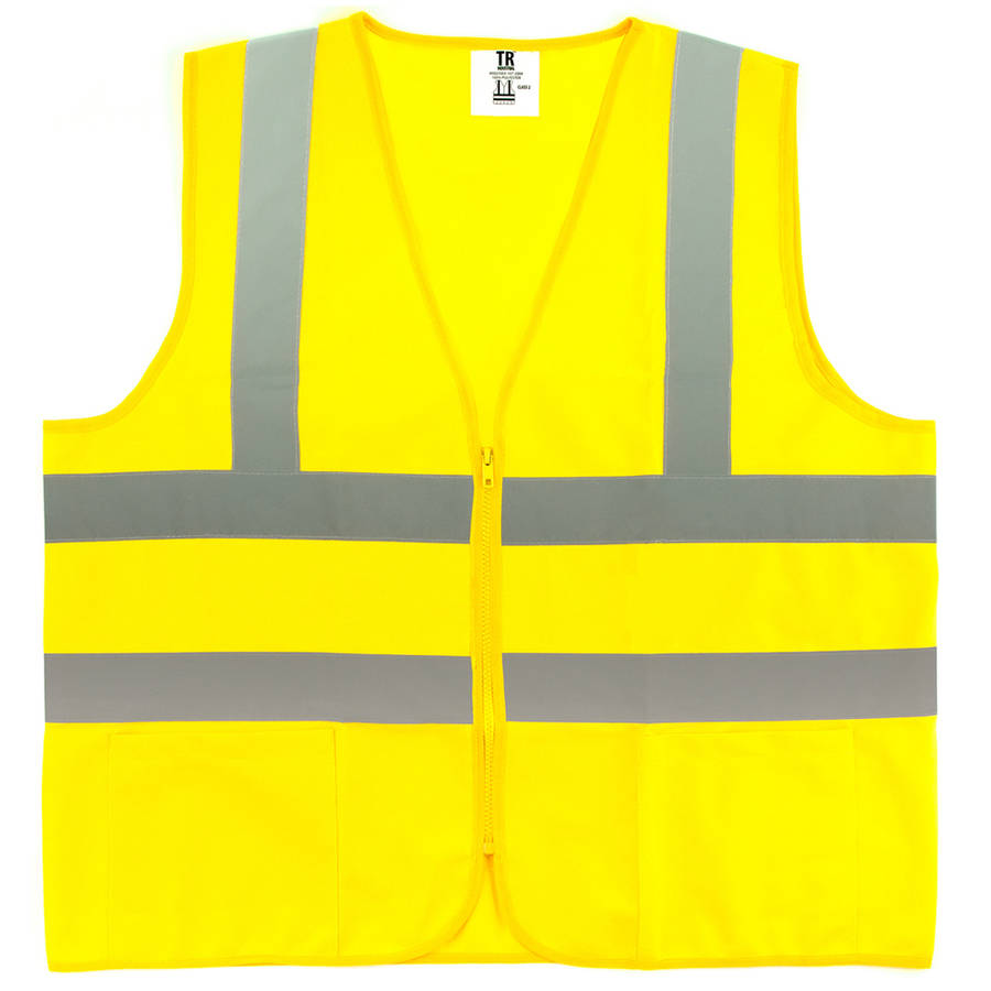 TR Industrial T806 Neon Safety Vest with Front Zipper Mesh, Large, Yellow