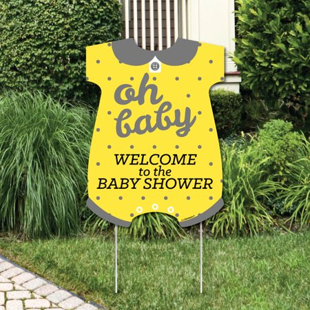Hello Little One - Yellow and Gray - Party Decorations - Neutral Baby Shower Welcome Yard Sign - Baby Shower Yard Sign