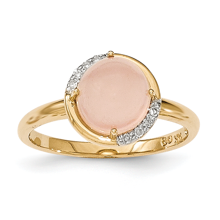 14k Pink Chalcedony and Diamond Ring by Saris and Things QG