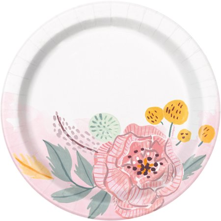 Soft Pink Painted Floral Paper Dessert Plates, 7in, 8ct (Halloween Desserts For Party)