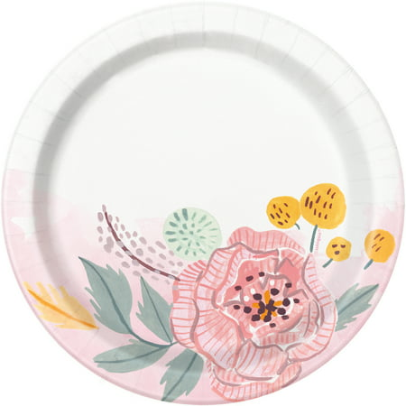 Soft Pink Painted Floral Paper Dessert Plates, 7in, 8ct - Thanksgiving Dessert Plates