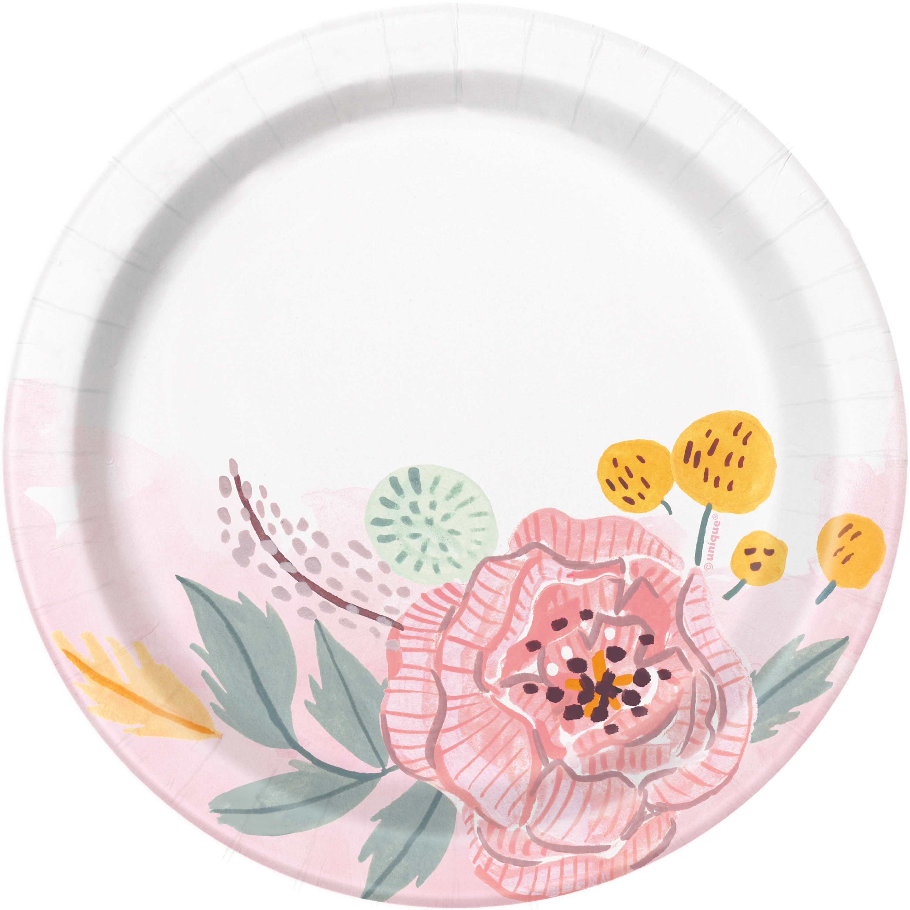 Soft Pink Painted Floral Paper Dessert Plates, 7in, 8ct