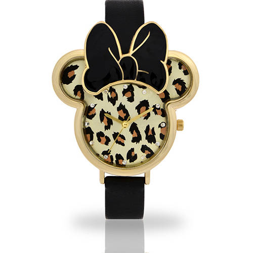 Women's Minnie Mouse Watch, Leopard Molded Head Strap