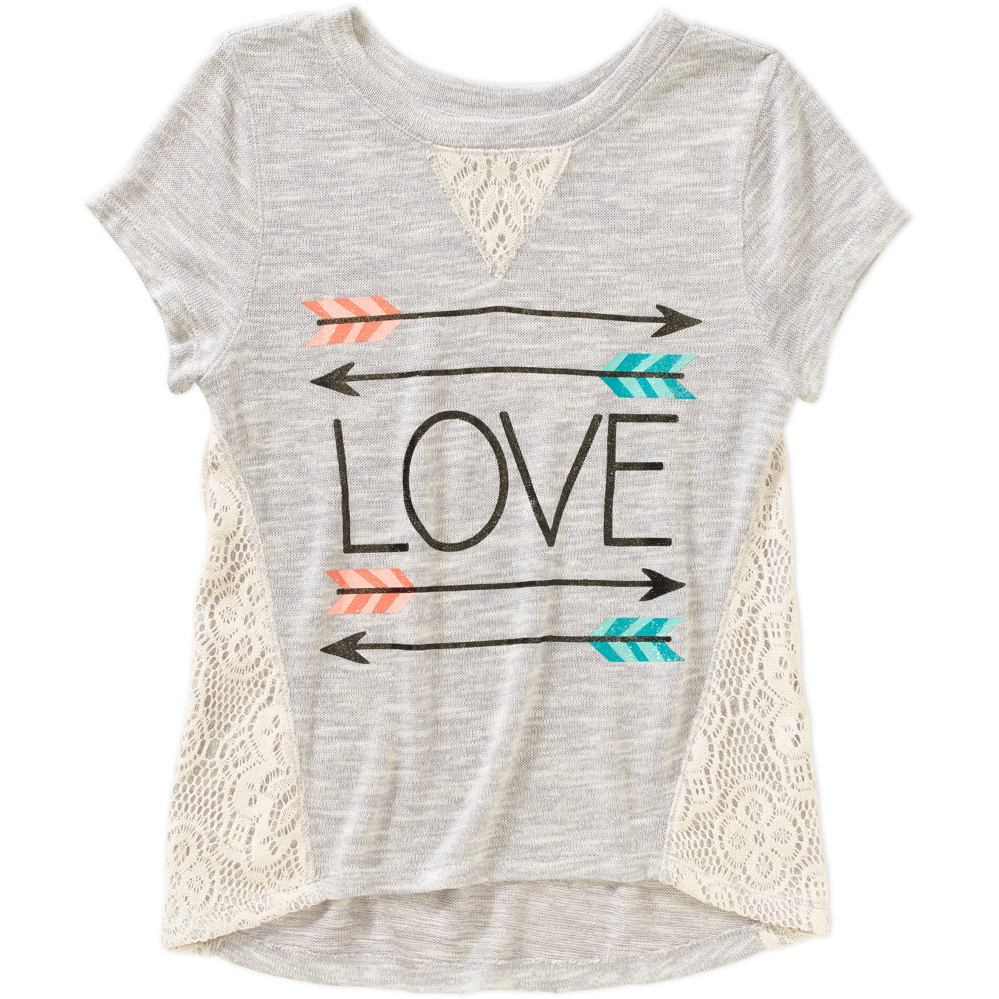 Miss Chievous Girls' Short Sleeve Crochet Panel Hi Lo Love Arrows Top