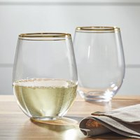 Better Homes & Gardens Stemless Double Rim Gold Wine Glasses, 2 Piece