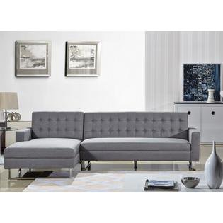 Polonne Sectional Sofa Upholstered in PU Leather or Fabric ()