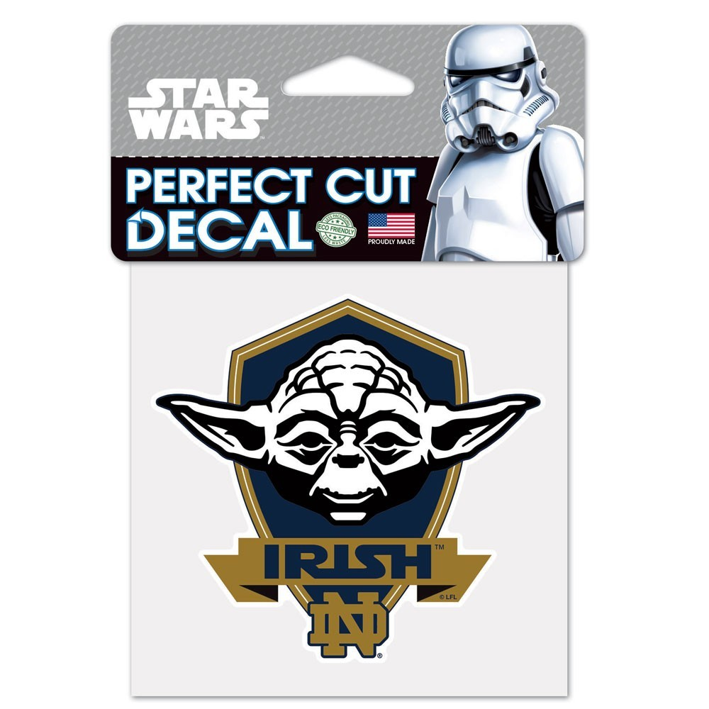 Notre Dame Fighting Irish Official NCAA 4 inch  x 4 inch  Star Wars Yoda Die Cut Car Decal by Wincraft