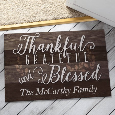 Personalized Doormat - Thankful, Grateful and (Personalized Gift Knees)