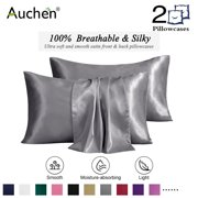 "2 Pack Satin Silk Pillowcase for Hair and Skin, Ultra Silky Satin Pillow Covers with Envelope Closure, Both Sides Artificial Silk, Multiple Colors and Sizes - Standard Size (20""x26"")  Charcoal"