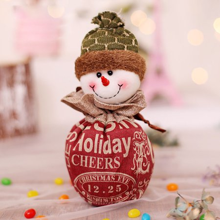 Christmas Candy Bag Cartoon Snowman Santa Claus Xmas Fruit Pouch Home Party Decoration Gift Holder - image 7 of 9