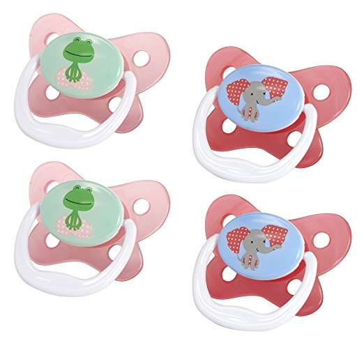 Dr. Brown's PreVent Contour Pacifier, Stage 2 (6-12m), Pink, 4 Count