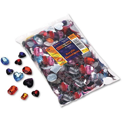 Chenille Kraft Gemstones Classroom Pack, Acrylic, 1 lb, Assorted Colors/Sizes