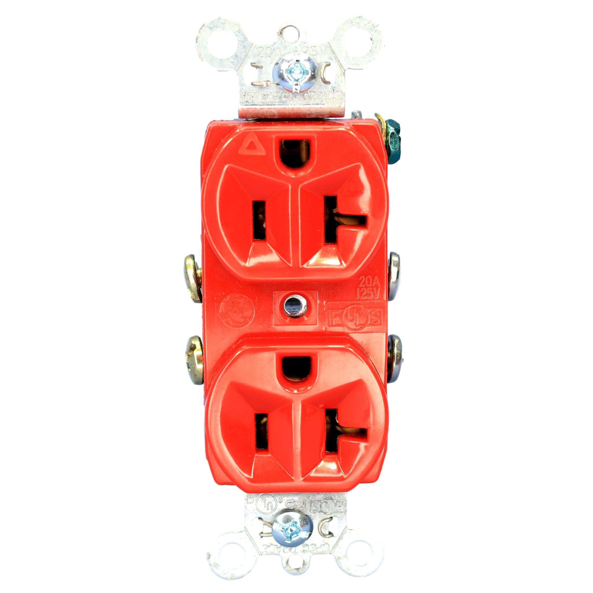 P&S Red Isolated Ground Straight Duplex Receptacle 5-20R 20A 125V IG5362-RED