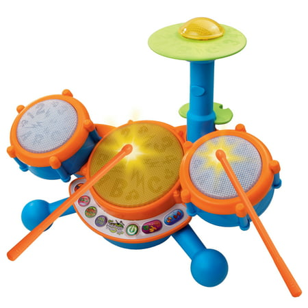 Kids Toys Music Player - VTech KidiBeats Drum Set With Four Drum Sounds and Three Music Styles