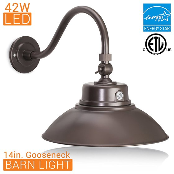 14in Bronze Gooseneck Barn Light Led Fixture For Indoor