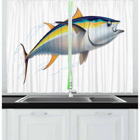 Fish Curtains 2 Panels Set, Yellowfin Tuna Realistically Illustrated with Shadows and Water Details on Fins, Window Drapes for Living Room Bedroom, 55W X 39L Inches, Earth Yellow Blue, by Ambesonne