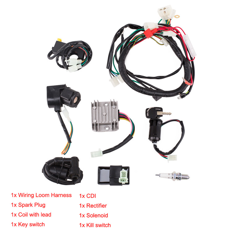 Electric Start Engine Wiring Loom Harness for 150CC 200CC...