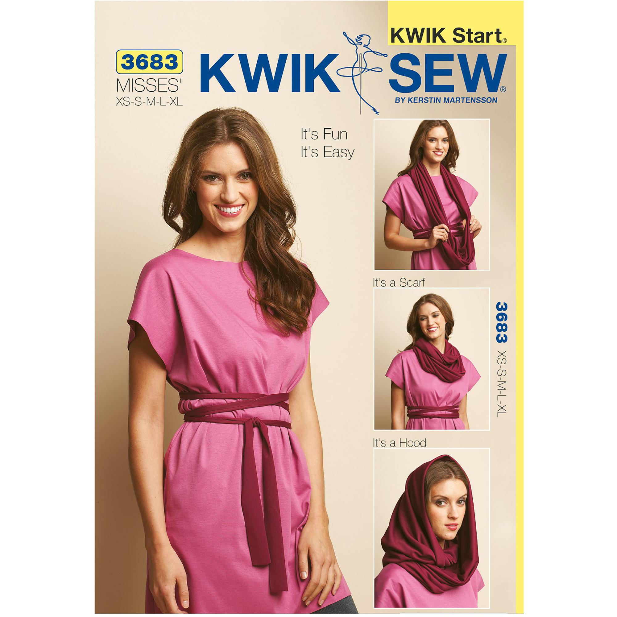Kwik Sew Pattern Fun and Easy Tunic, Belt and Scarf, (XS, S, M, L, XL)