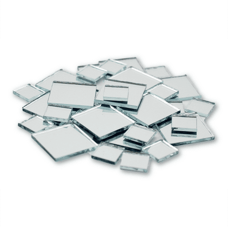 Mini Glass Gems Mosaic Tiles - Small Mini Square Craft Mirrors 0.5 & 1 Inch 25 Pieces Mirror Mosaic Tiles