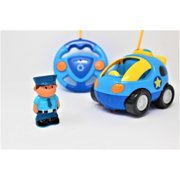 RC Cartoon Police Car Electric Toy Remote Control & Play Vehicles with Music and Lights for Baby Toddlers Kids and Children