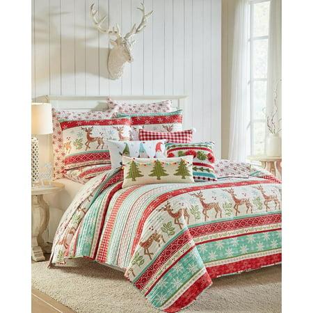 Christmas Reindeer Holidays King Quilt & Shams Set (3 Piece Bedding) ()