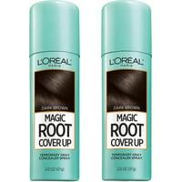 (2 Pack) L'Oreal Paris Magic Root Cover Up Gray Concealer Spray Dark Brown, 2 Oz