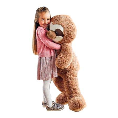 Big Plush Giant Stuffed Sloth 44 Inches Soft 112 cm Huge Cuddly Stuffed Animal Beige Color Big Sister Plush