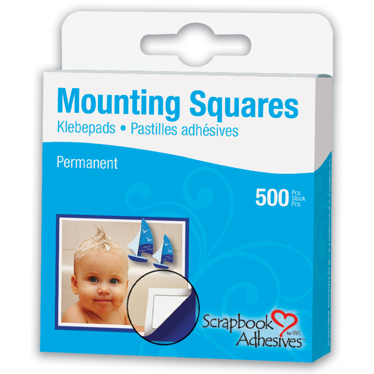 3L 1/2-Inch by 1/2-Inch Permanent Mounting Squares 500/Pkg, White Multi-Colored