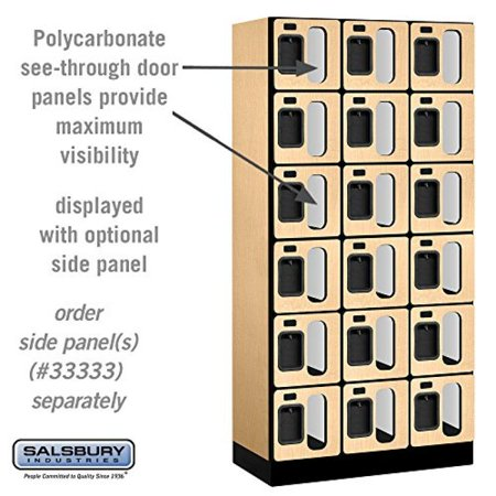 - Salsbury Industries 6-Tier Box Style See-Through Designer Wood Locker with Three Wide Storage Units, 6-Feet High by 18-Inch Deep, Maple