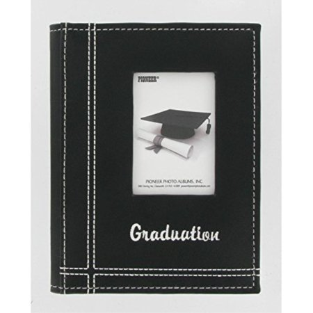 Pioneer Photo Albums 36-Pocket Sewn Leatherette Embroidered Graduation Theme Frame Cover Album for 4 by 6-Inch Prints, Black - Graduation Photo Album