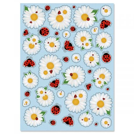 Daisy & Ladybug Stickers - 2 sheets, 86 stickers total, Envelope Seals, Kids -