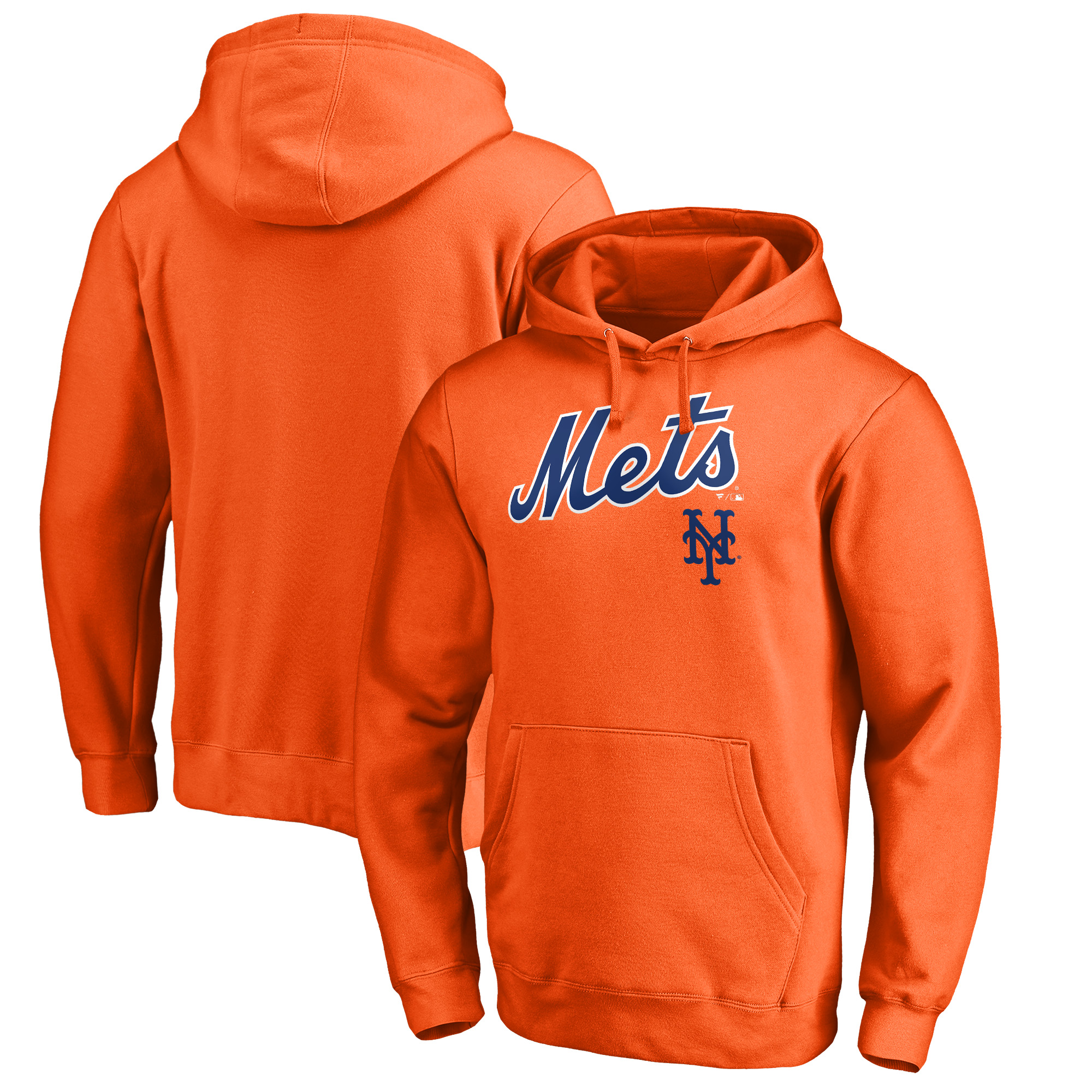 New York Mets Fanatics Branded Big & Tall Team Lockup Pullover Hoodie - Orange