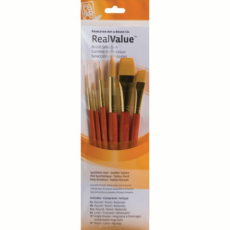 Princeton Brush Real Value 6-Brush Golden Taklon Brush Set, Round 1, 6, 12, Liner 2, Angle Shader 1/2, Wash