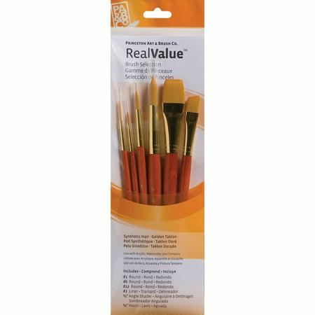Princeton Brush Real Value 6-Brush Golden Taklon Brush Set, Round 1, 6, 12, Liner 2, Angle Shader 1/2, Wash 3/4 1/2 Golden Taklon Brush