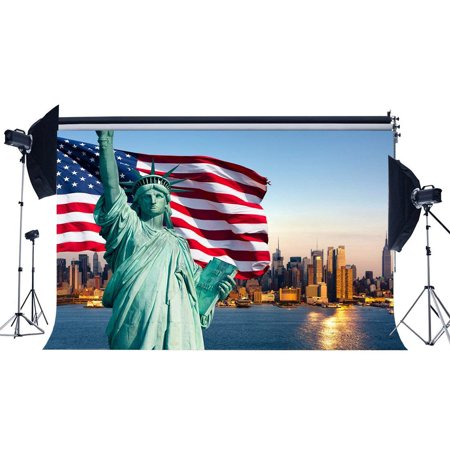 ABPHOTO Polyester 7x5ft Statue of Liberty Backdrop America Flag New York City Skyscraper River Blue Sky Stars and Stripes Wallpaper Spring Journey Photography Background Adults Photo Studio Props](Halloween Props New York City)
