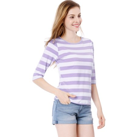 Unique Bargains Women's Elbow Sleeves Contrast Color Stripes Top Pink Gray XS - image 2 de 5