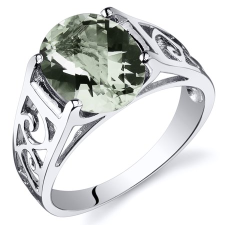 2.25 Ct Green Amethyst Solitaire Ring in Rhodium-Plated Sterling Silver - Green Amethyst Fashion Ring