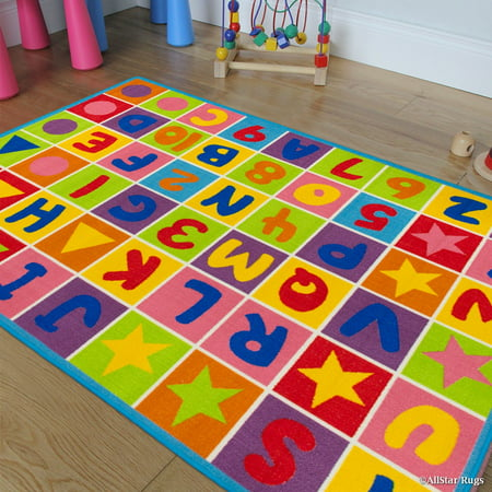 Allstar Kids / Baby Room Area Rug. Letters and Numbers with Vibrant Colors and Shapes (3' 3