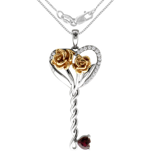 """.40 Carat T.G.W. Created Ruby and Diamond Accent Sterling Silver Key Pendant, 20"""""""