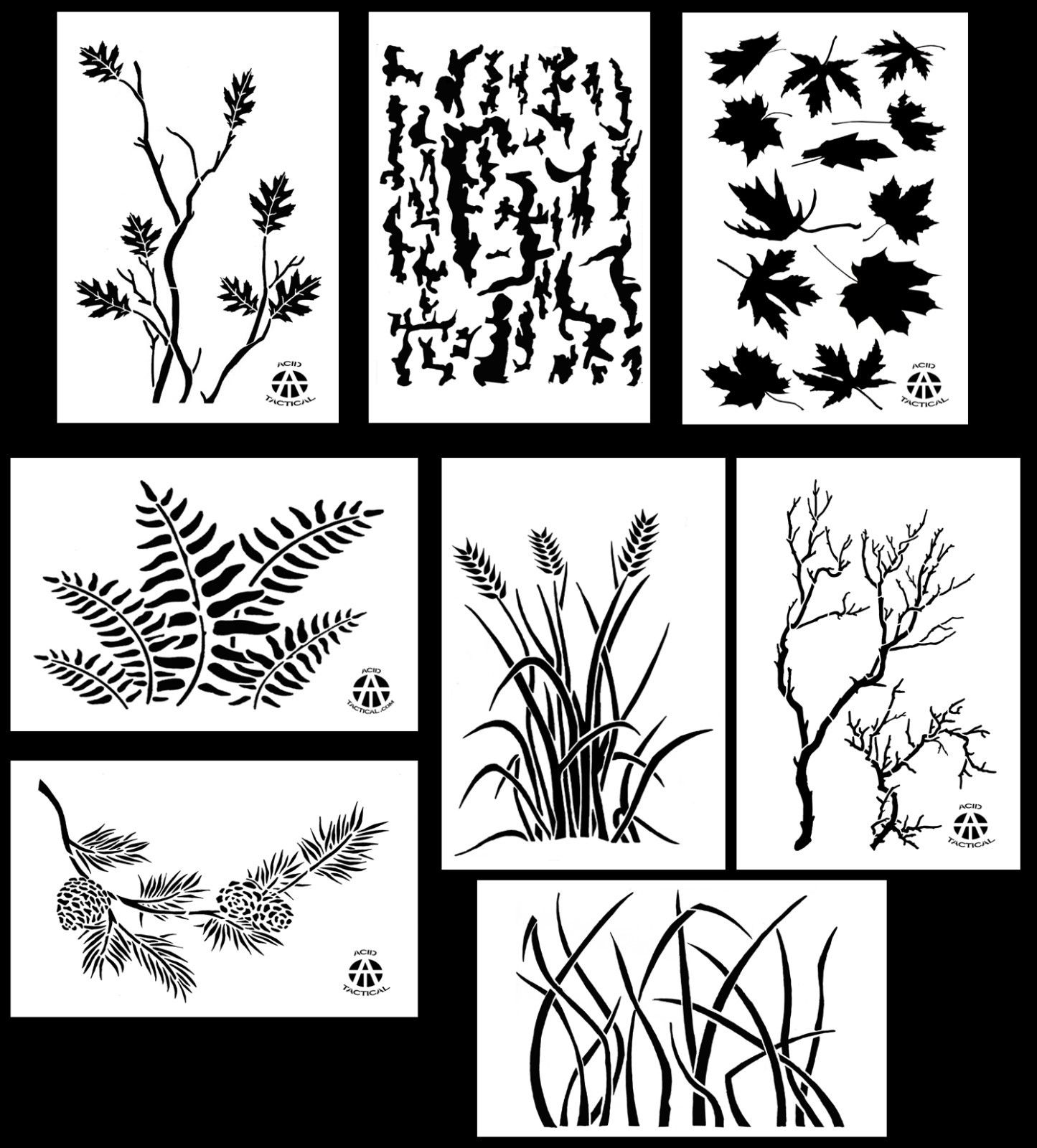 graphic regarding Free Printable Camouflage Stencils referred to as 8Pack! Spray Paint Camouflage Stencils 10 Mil Do it yourself Camo Templates 14\