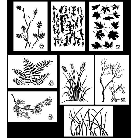 8Pack! Spray Paint Camouflage Stencils 10 Mil DIY Camo Templates 14