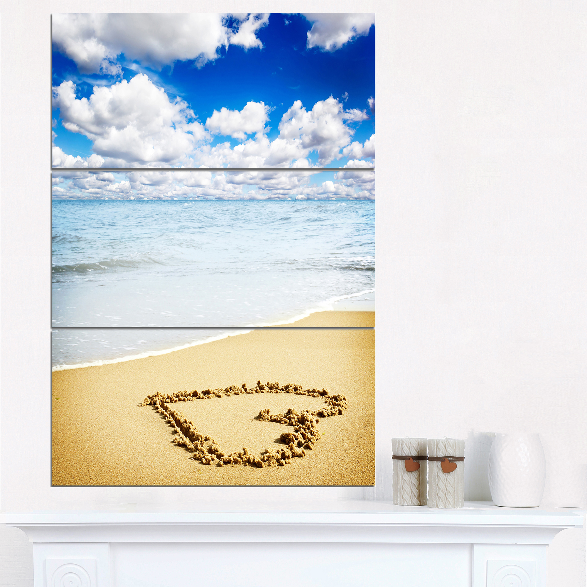 Massive Heart Drawn on Serene Beach - Seascape Canvas Art Print