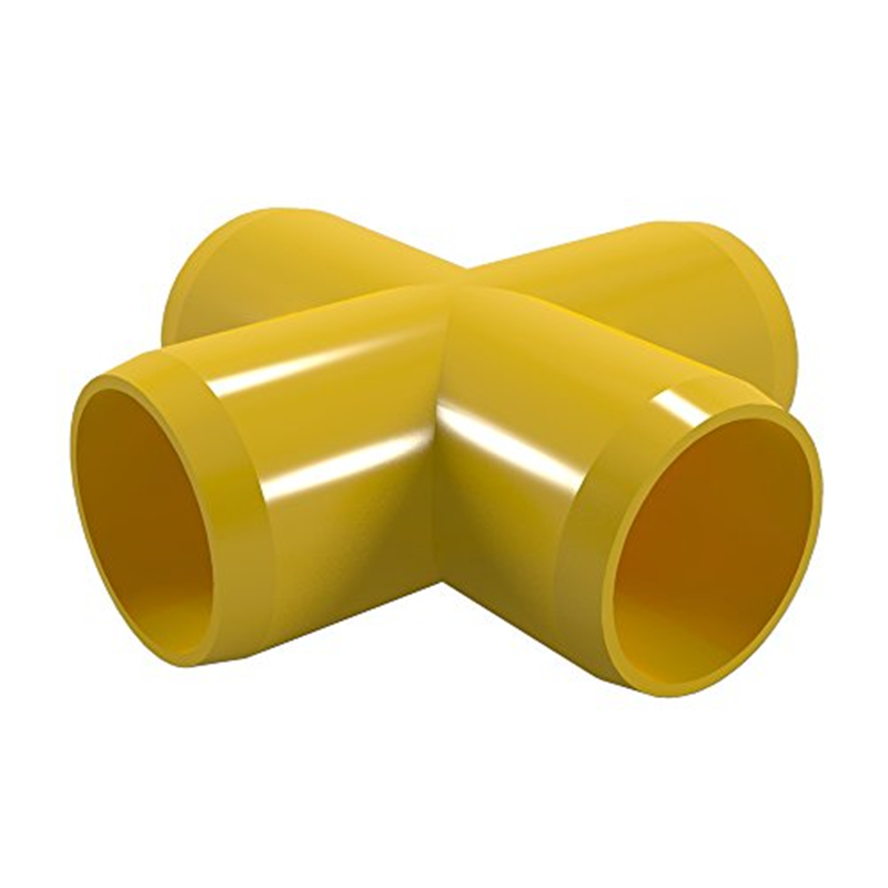 FORMUFIT F034CRX-YE-8 Cross PVC Fitting, Furniture Grade, 3/4 in. Size, Yellow , 8-Pack