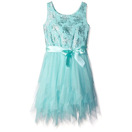 Lilt Girl Sleeveless Sequin Floral Fairy Dress Aqua - Fairy Dresses