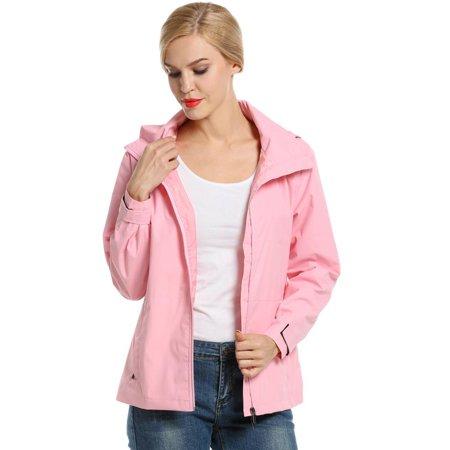 Women Hooded Zip-Up Solid Jacket Outdoor Cycling Running Sport Lightweight Jacket HFON